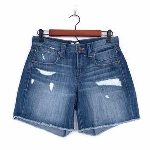 J.Crew Blue Distressed Frayed Denim Shorts